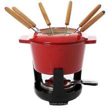 Cocina Juego de fondue de fusión de 9 piezas Cafetera de queso fundido Olla de hierro fundido