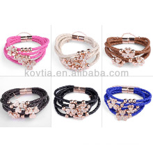 NH00256 High quality braided leather wristband bracelet
