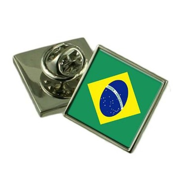 Metal Brazil Flag Safety Pin med fjärilskoppling