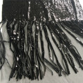 Black Fringe Sequin Embroiery Fabric For Evening Dress