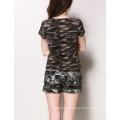 Ladies Fashion Camouflage Pattern Printed Custom Cotton V Neck Tee T Shirt