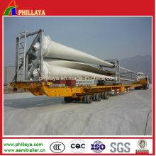 Remorque semi-remorque extensible hydraulique de camion de lowbed de lame de vent 16m-45m