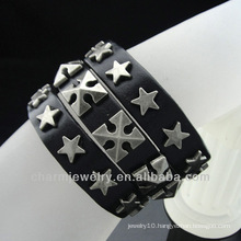 Men Star Rivet Genuine Brown Leather Bracelet Cuff BGL-011