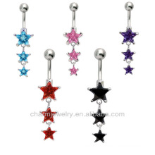316L Surgical Steel 14Guage Star Dangle Navel Belly Ring Bar Stud Button Barbell BER-004