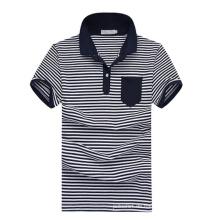 Kurzarm-Großhandel Weiß Navy Blue Striped Polo-Shirts