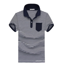 Short Sleeve Wholesale White Navy Blue Striped Polo Shirts