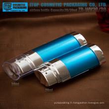 ZB-WV20 20ml (10 ml * 2) hot-vente haut lotion double ovale qualité twist flacons airless version