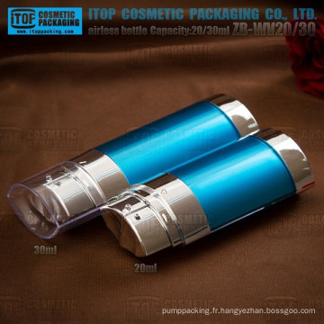 ZB-WV20 20ml 2 en 1 bouteille spéciale et belle ovale 20 et 30ml tube double innovant flacons airless