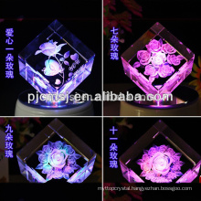 Cubism engraved 3D laser crystal rose for Wedding souvenirs