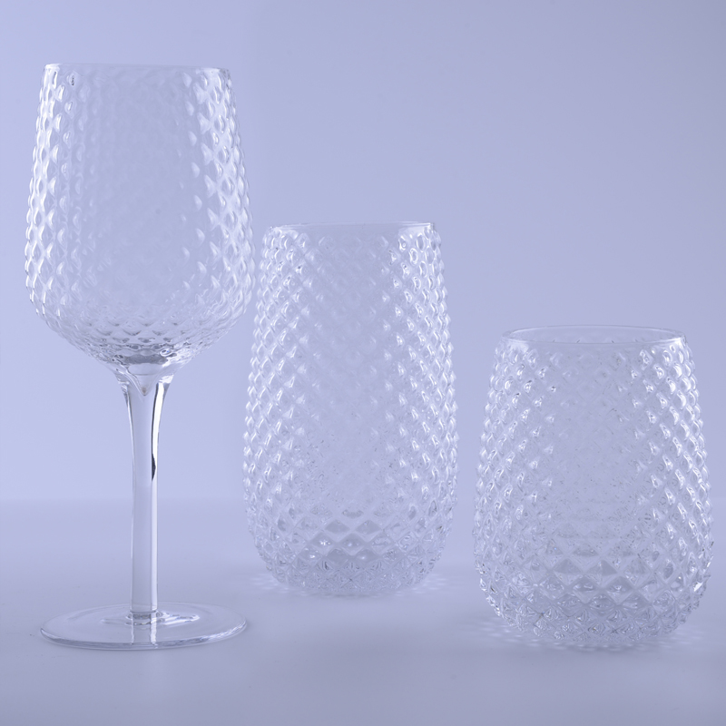 clear Hobnail Highball Glass Set