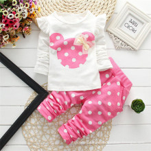 Spring 2021 New Girls Round Collar Mouse DOT Cartoon Long Sleeve Two-Piece Set
