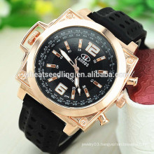 Latest design square design men's sports sillicone jelly watch
