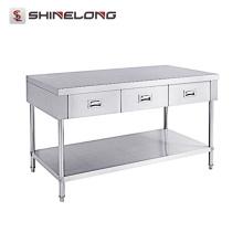 S056 Restaurant Table de travail en acier inoxydable avec 3 tiroirs avec étagère