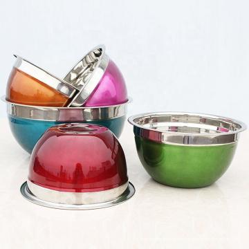 El color barato pintó el sistema personalizado del cuenco de ensalada del acero inoxidable de la vajilla del metal