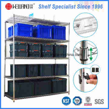 NSF 5 Tiers Heavy Duty Steel Wire Storage Bin Rack for Warehouse