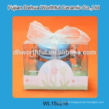Lovely ceramic blue seal pot with PVC packaging