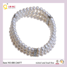 Triple 6-7mm Button Shape Freshwater Pearl Bracelet, Fashion Bracelet as Mother′s Day Gift