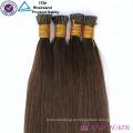 O cabelo brasileiro brasileiro da fusão da queratina em linha pre ligou 32 micro extensões do cabelo do anel