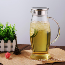 Glass pitcher with spout for juice & iced tea