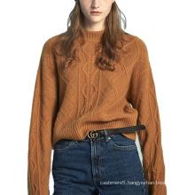 100% Women Mongolian O Neck Short  Women Cashmere Sweater