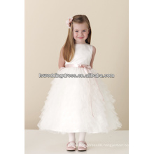 HF2167 Very cute white plain satin top pink ribbon bow jewel neck sleeveless layers tulle cheap tulle overlay flower girl dress