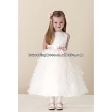 HF2167 Muito fofinho branco, simples, cetim, superior, rosa, fita, arco, jóia, pescoço, sem mangas, camadas, tule, barato, tule, sobreposição, flor, menina, vestido