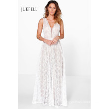 All Lace Plunge Neck Women Party Maxi Dress