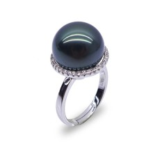 Argento Sterling Silver Tahitian Pearl Moti Ring