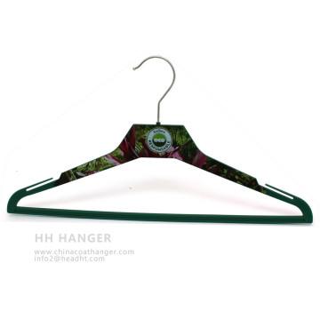 Body imprimé Custome de cintre en plastique impression Design manteau Ahngers