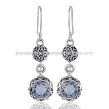 Sky Blue Topas Edelstein 925 Sterling Silber Ohrring