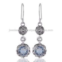 Boucles d'oreilles en argent sterling 925 en pierres précieuses en topaze Blue Sky Blue
