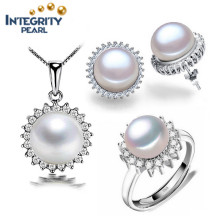 Fashion 925 Silver Freshwater Pearl Set 9mm Button Pearl AAA New Design Pearl Set