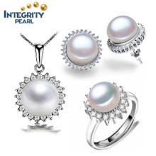 Мода 925 Серебряная пресноводная жемчужина Набор 9мм кнопки Перл AAA Новый дизайн Перл набор