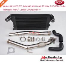 Mertop 06-10 VW GTI Jetta mk5 mk6 / Audi A3 fsi tsi 2.0T GEN2 Turbo Intercooler (Bar and plate type) Kit+3'' Catless Downpipe