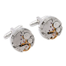 Steampunk working watch movement cufflinks