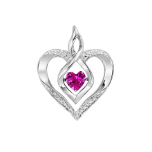 Sterling Silver Rhythm of Love Necklace with Created Ruby