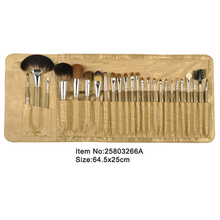 25pcs golden plastic handle animal/nylon hair makeup brush tool set with golden PU leather case