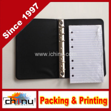 Carpeta pequeña de 6 anillas negra con paquete de 100 hojas rotadas (520050)