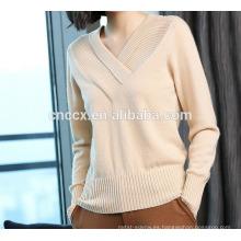 P18B10TR dama 100% cashmere con cuello en V suéter