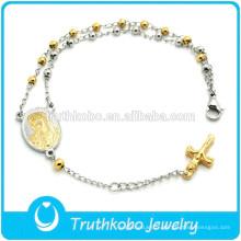 bracelet de perles chapelet bijoux en acier inoxydable vierge mary charme croix pendentif dongguan en gros de haute qualité