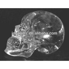 "2 ""Handmade esculpido crânio de cristal claro"
