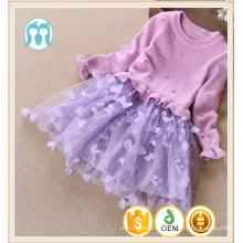 девочек платье фиолетовый трикотаж трикотажные тюль платья детей алибаба юбки и джемпера для девочки фабрики Гуанчжоу