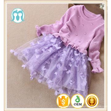 Filles robe chandails violet tricoté tulle robes enfants jupes d'alibaba et chandails pour bébé filles guangzhou usine