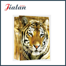 Glossy Laminated Coated Paper Shopping Gift Bag with Tiger Printed