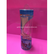 Clear Column/Cylinder Plastic Box for display (printed box)