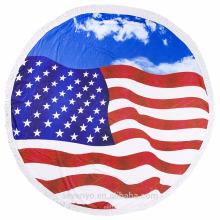 100% polyester drapeau américain serviettes de plage rondes pour les adultes