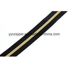 Fermeture à glissière longue longueur en nylon avec des dents dorées pour vêtements