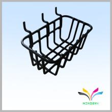 Черный крюк gridwall провода супермаркета висит корзина полка
