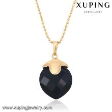 32652 moda elegante preto cz pedra 18 k banhado a ouro imitação de jóias cadeia pingente