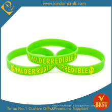 Custom Promotional Printed Green Silicone Wristband (LN-020)